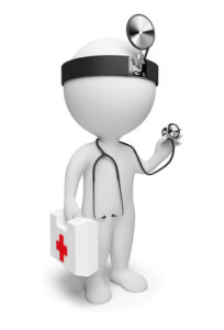 3d small people the doctor with a stethoscope and the first-aid set in hands. 3d image. Isolated white background.